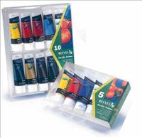 Reeves Premium Acrylic Paint  Pack of 5 x 75ML Tube - Assorted