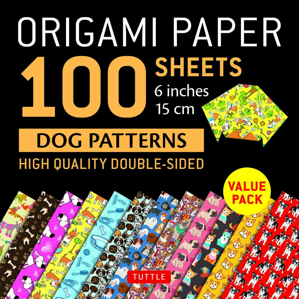 Origami Paper Dog Patterns - 100 Sheets