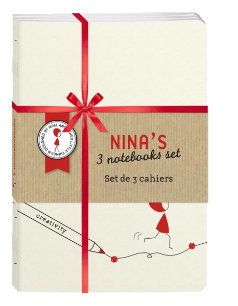 Nina Set of 3 Stapled Notebooks A5 Ivory Lined